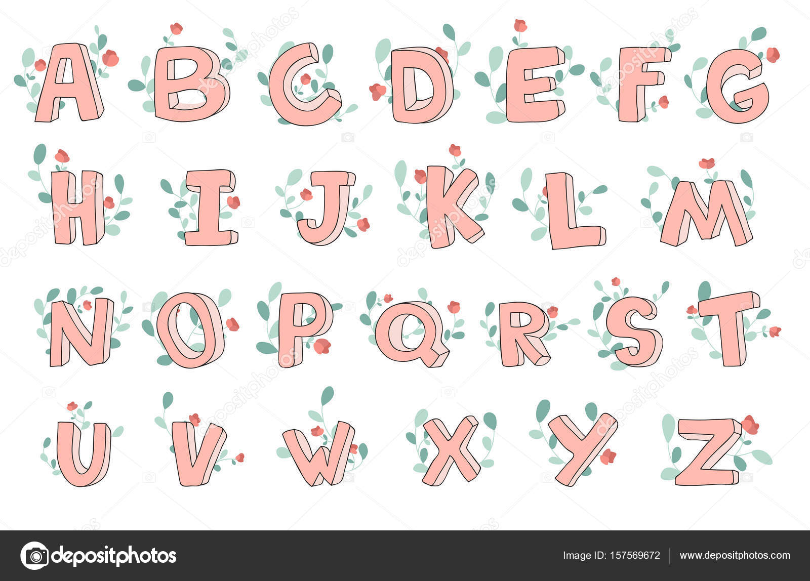 Vector hand drawn cute alphabet with floral decoration font vector hand drawn cute alphabet with floral decoration font letters 3d doodle altavistaventures Image collections