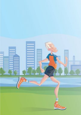 An elderly man practice Jogging outdoors. Active lifestyle and sport activities in old age. Vector illustration.