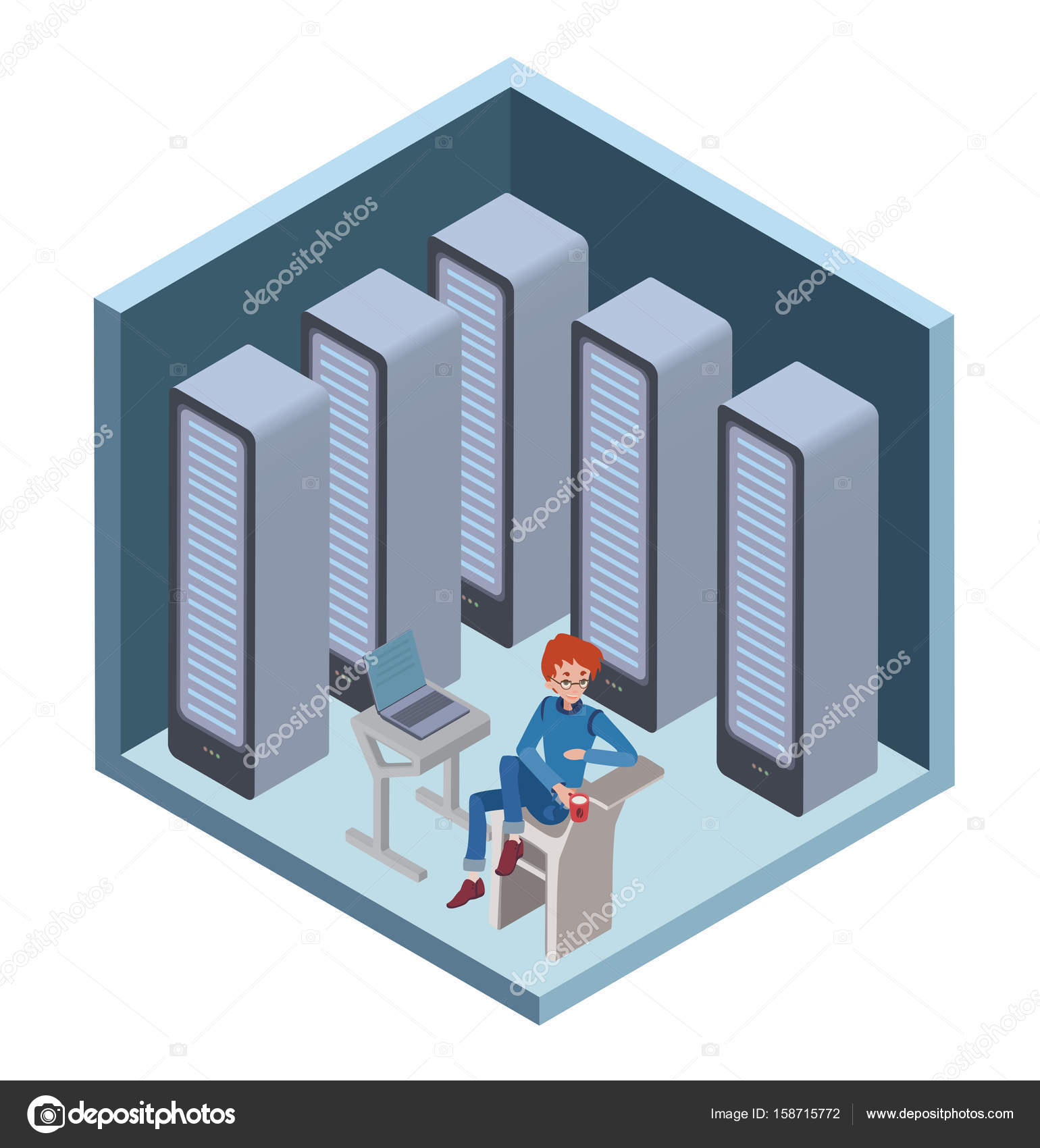 Data Center Icon System Administrator Man Sitting At The Computer In Server Room Vector Illustration Isometric Projection Isolated On White