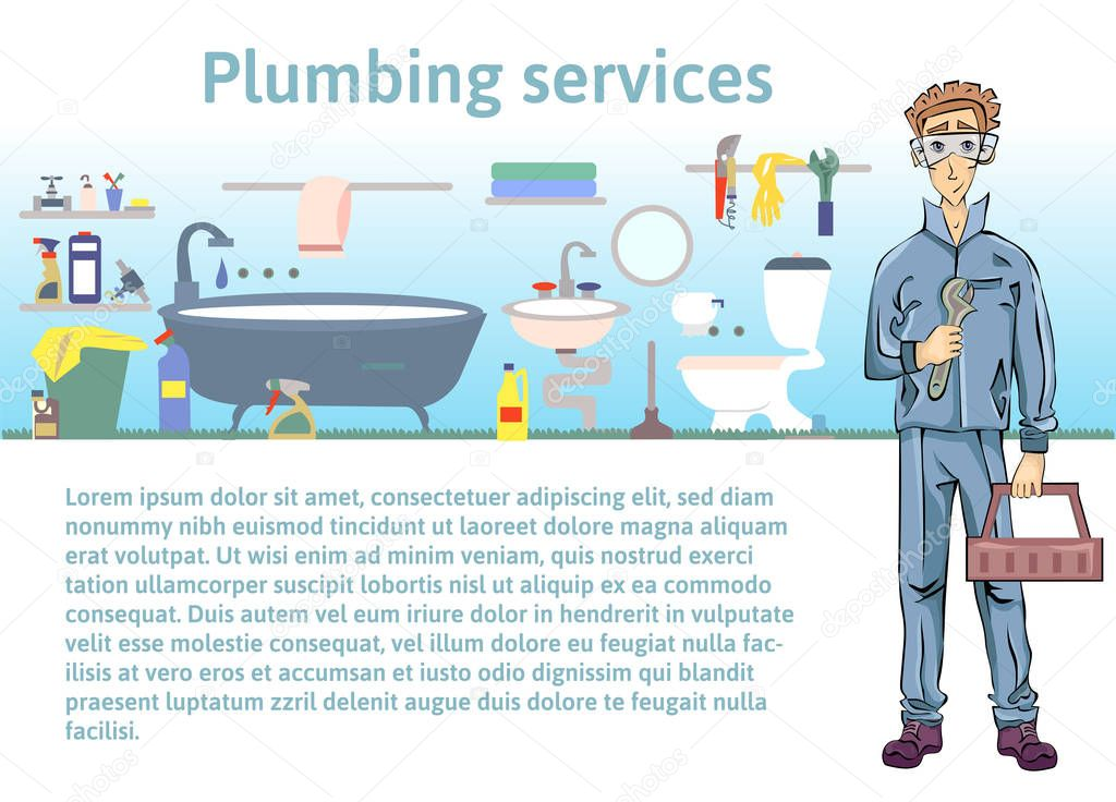Plumbing services. Plumber man holding a wrench. Vector illustration with copy space, template for advertising flyer brochure or web site.