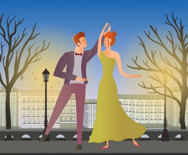 Young couple. Man and woman dancing ballroom dance in the street of the old town. Vector illustration.
