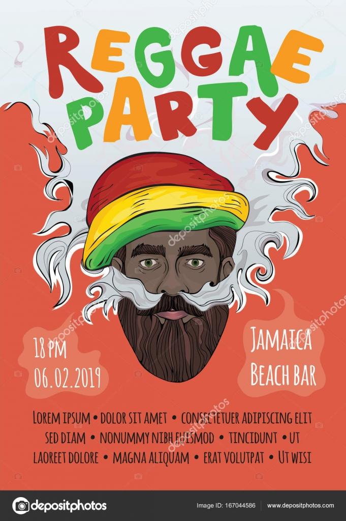 template of advertising poster for reggae music concert or party black man in rasta hat making smoke cloud rastaman smoking marijuana