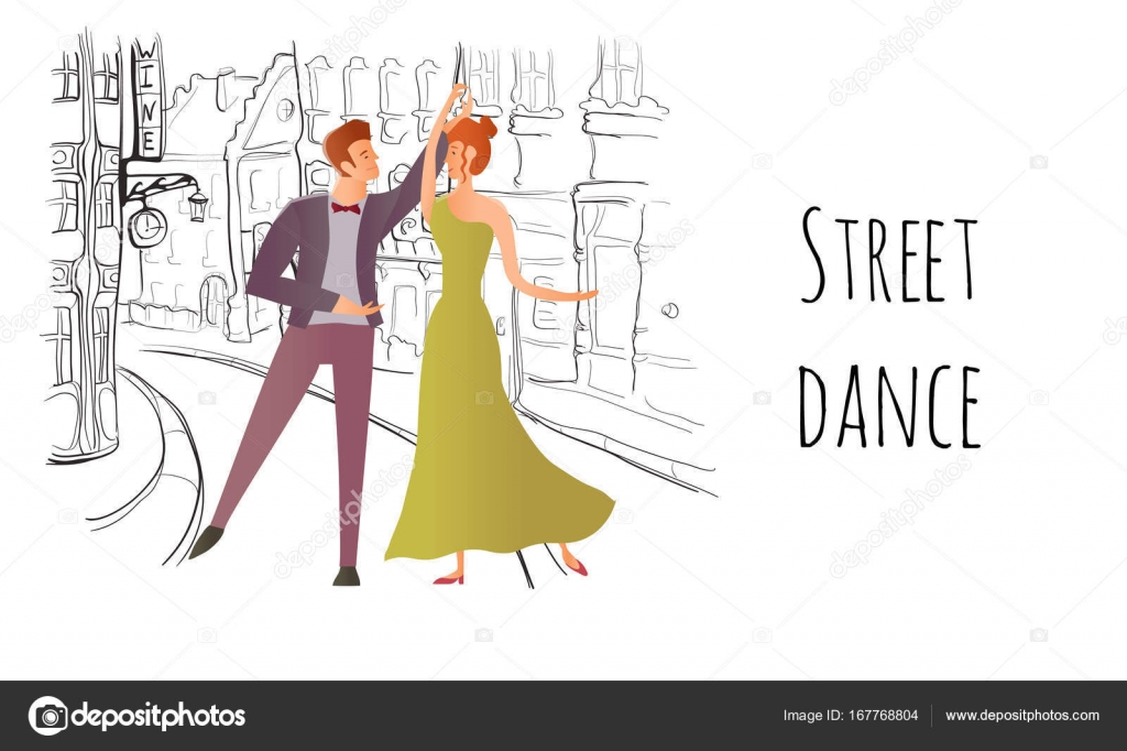 Young Couple In Love Man And Woman Dancing In The Street Of The Old Town Vector -4452
