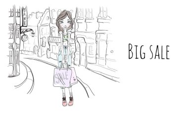 Young girl with shopping bags on the street of city. Vector portrait illustration in sketch style.
