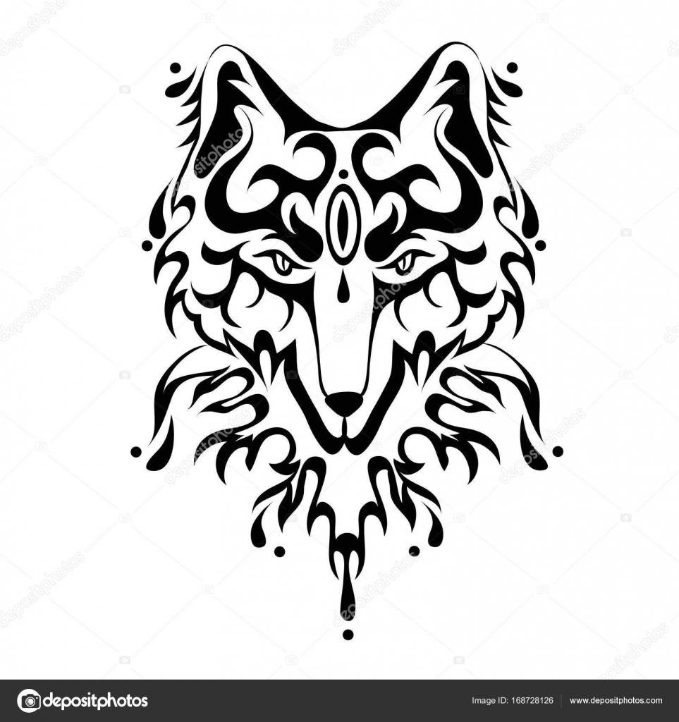 Visage De Renard Ou Chien Tatouage Illustration Vectorielle
