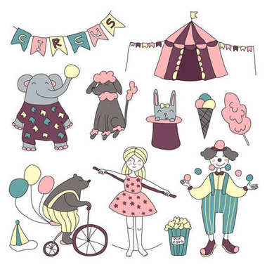 Traveling chapiteau circus. Vector illustration, set of circus performers, trained animals and circus props.