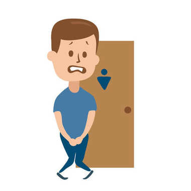 Stressed guy wanting to pee stands in front of a WC door. Isolated flat illustration on a white backgroud. Cartoon vector image.