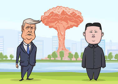 OCTOBER, 30, 2017: Donald Trump and Kim Jong-un in front of nuclear explosion on the city background. US President Trump and North Korea Supreme Leader Kim. Vector illustration, character portrait.