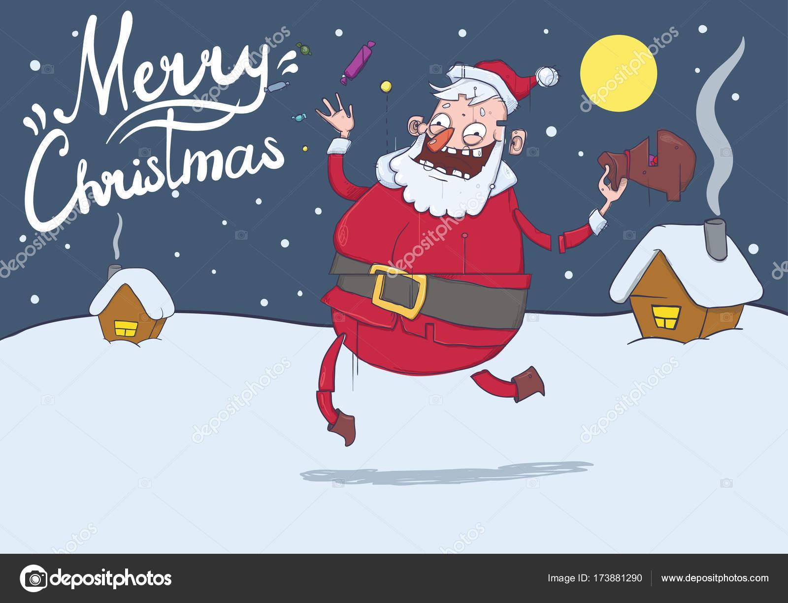 Christmas card with funny Santa Claus. Santa brings gifts and throws ...