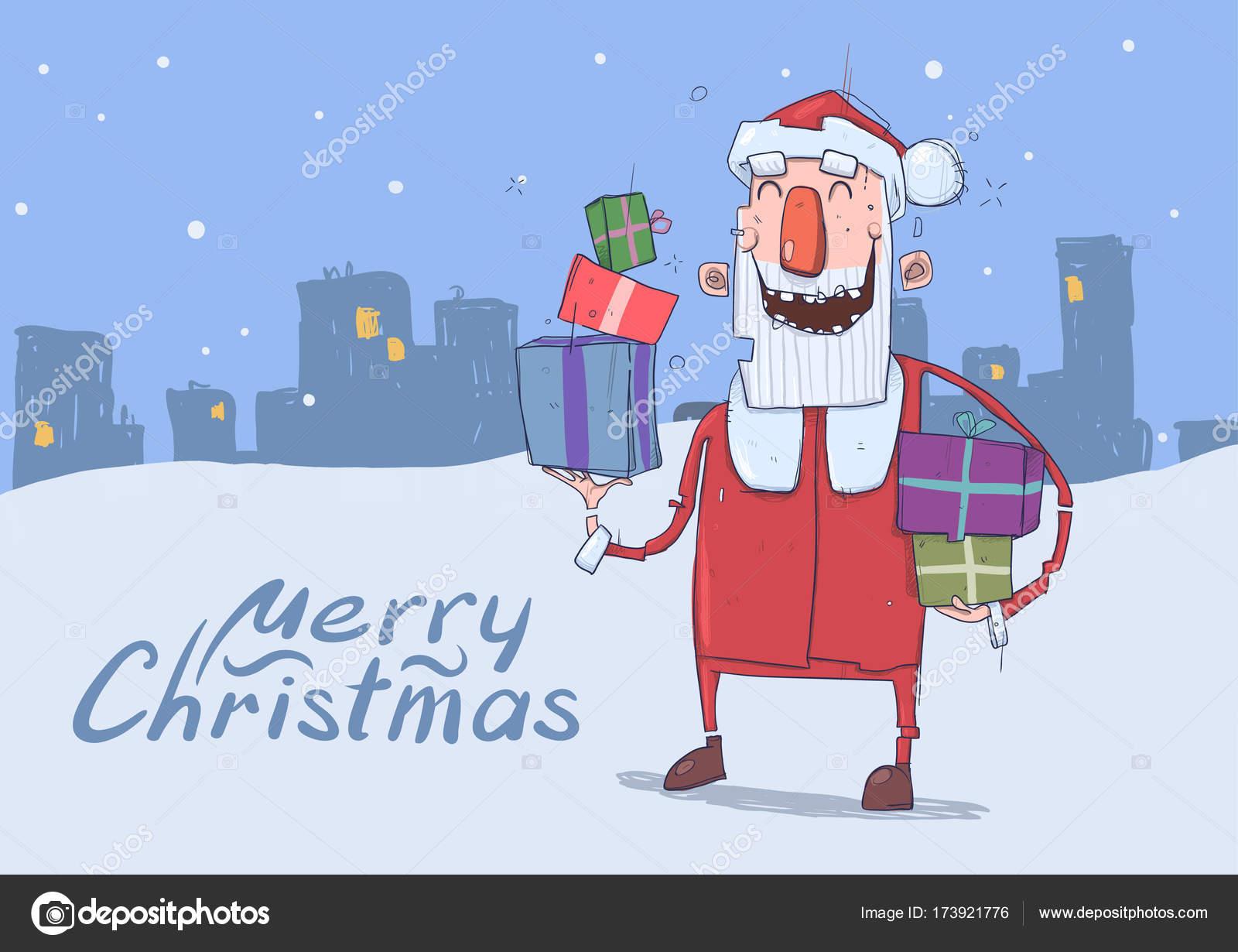 Christmas Card Of Funny Smiling Santa Claus Santa Claus Carries