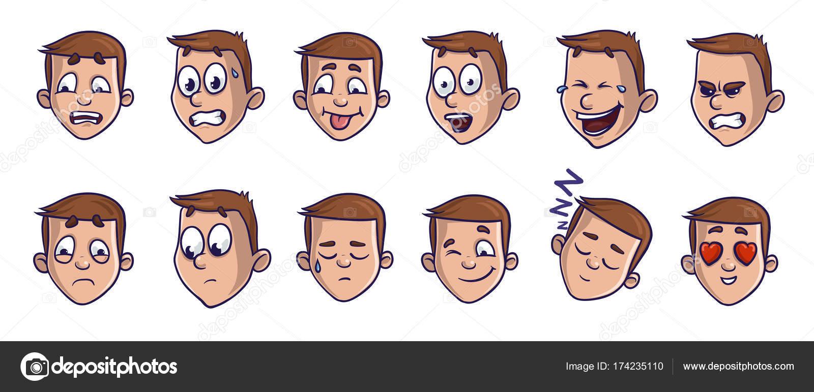 Set di testa immagini con differenti espressioni emotive