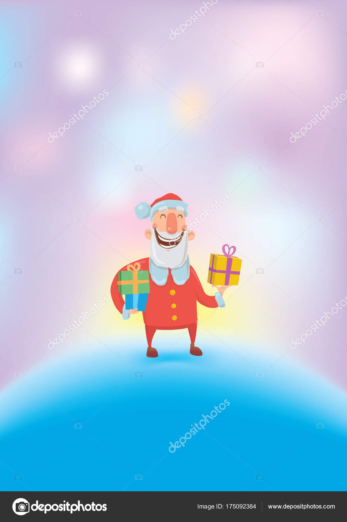 Funny Smiling Santa Claus Carries Gifts In Colorful Boxes On White  Background. Merry Christmas And Happy New Year Greeting Card. Vector  Illustration.