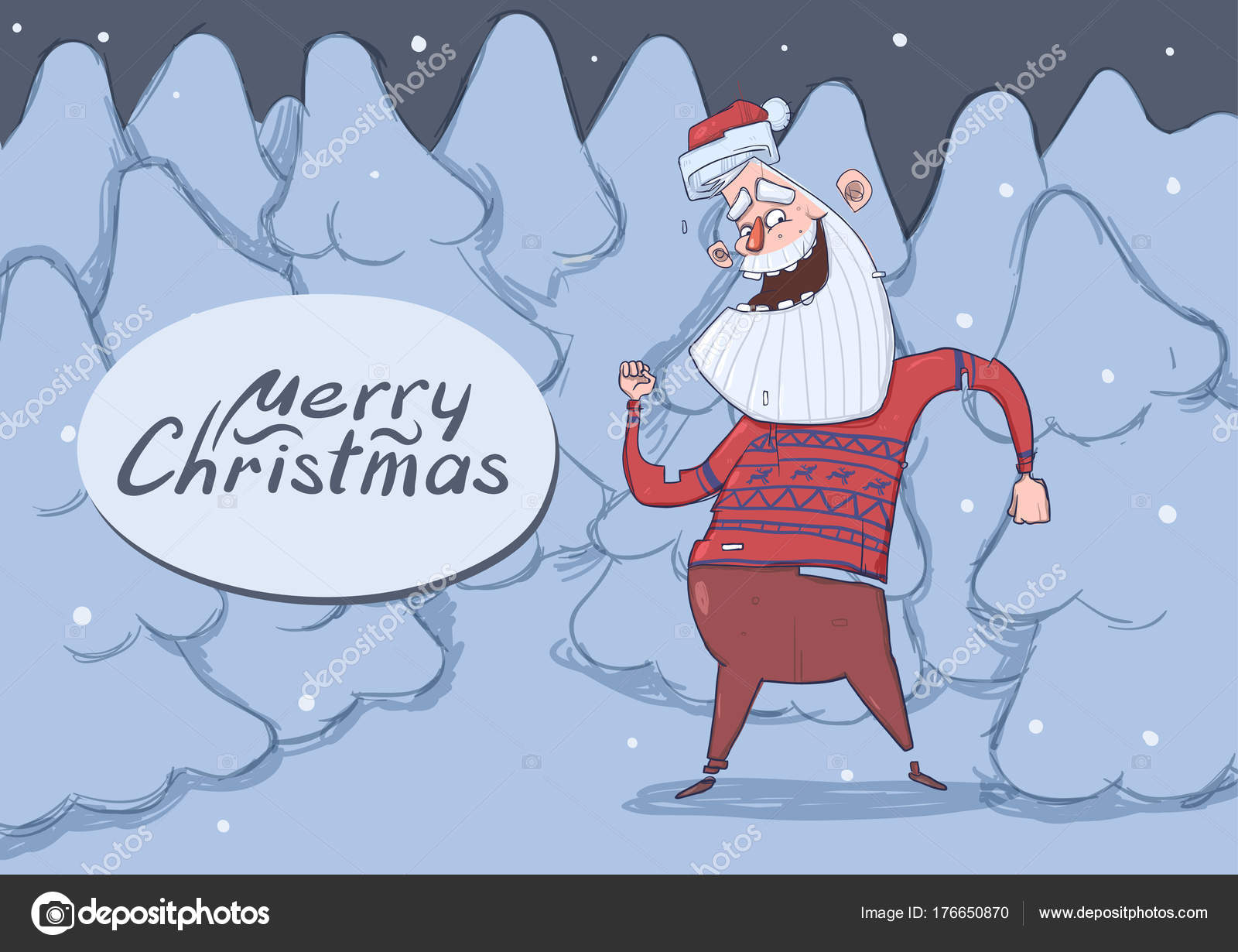Christmas card of funny Santa Claus dancing in snowy night forest ...