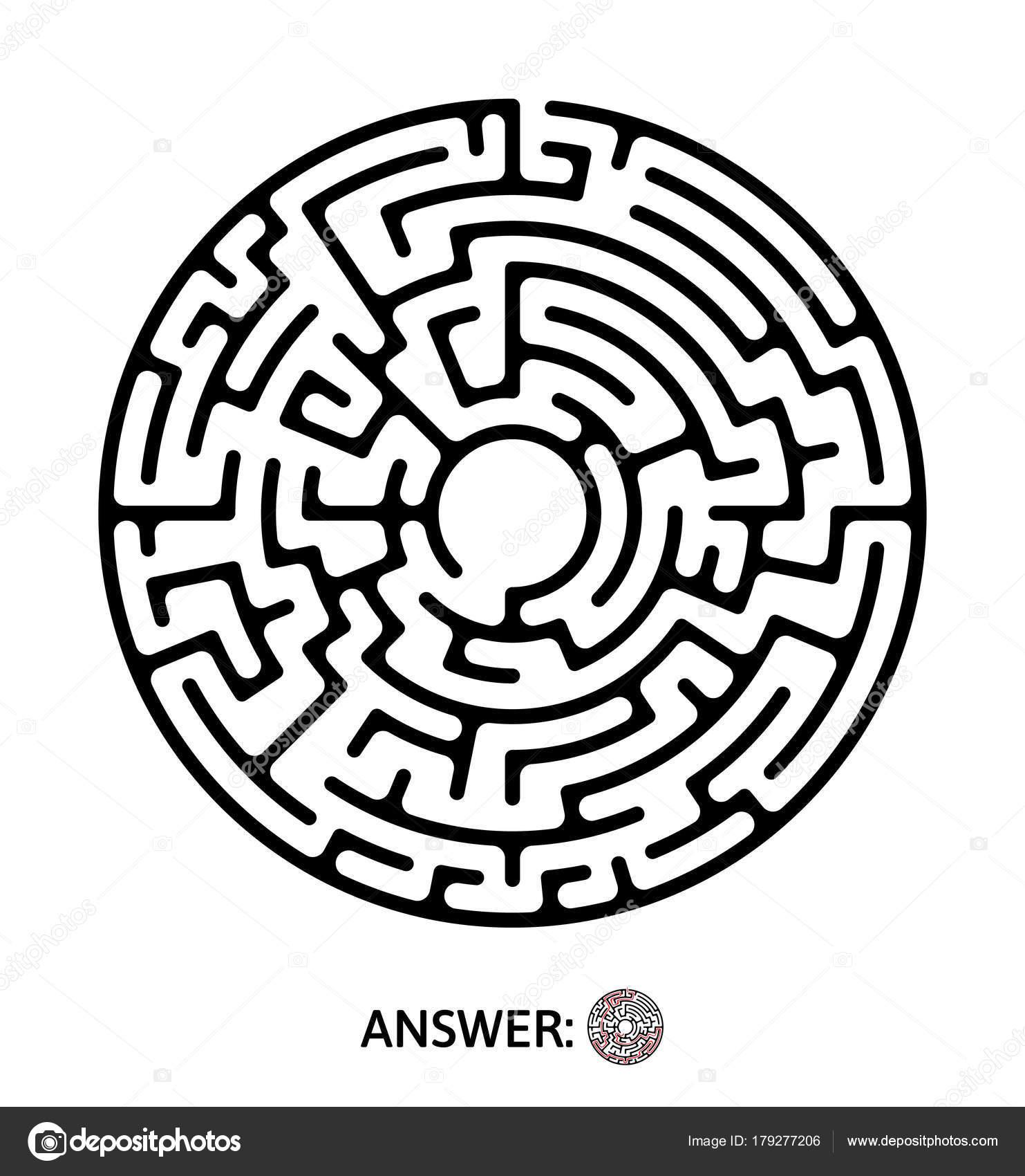 Black Round Maze Puzzle Game Vector Labyrinth Illustration