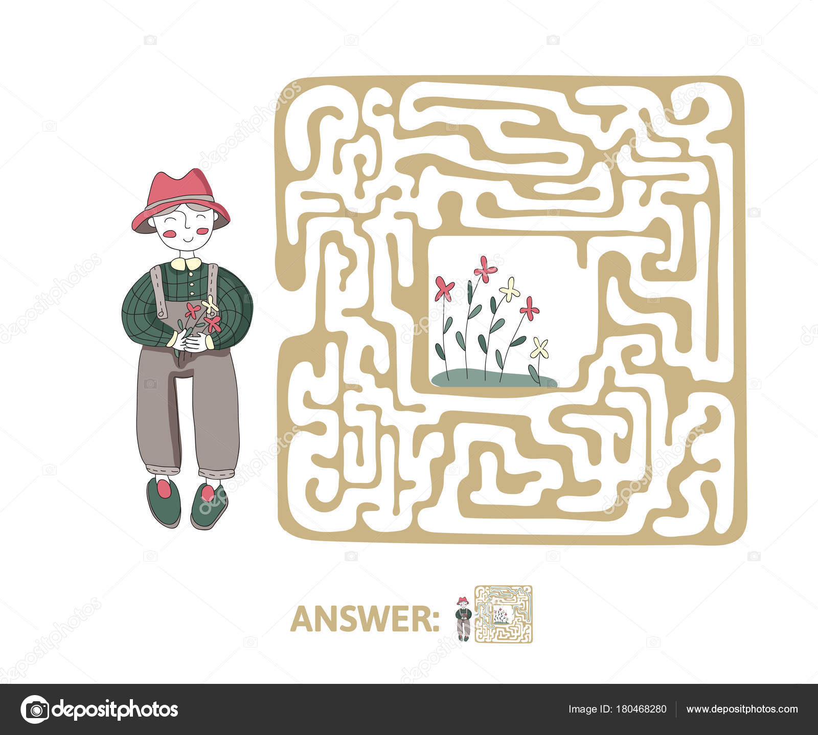 Childrens Maze With Gardener And Flowers Cute Puzzle Game For Kids Vector Labyrinth Illustration By Goodstockeryandexru