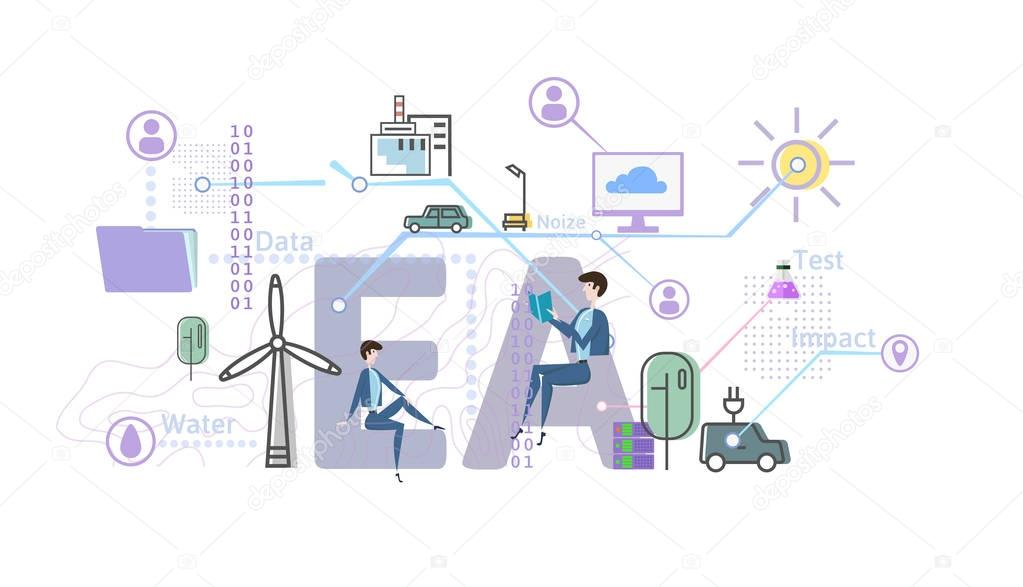 Environmental assessment, EA. Assessment of the environmental consequences. Concept vector illustration in flat style, isolated on white.