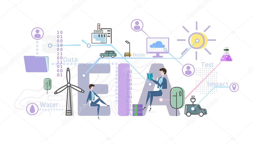 Environmental impact assessment, EIA. Assessment of the environmental consequences. Concept vector illustration in flat style, isolated on white.