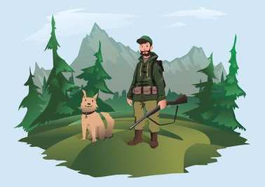 Hunter with gun and happy dog. Huntsman standing in the forest against a mountain landscape. Vector illustration, isolated on light background. stock vector