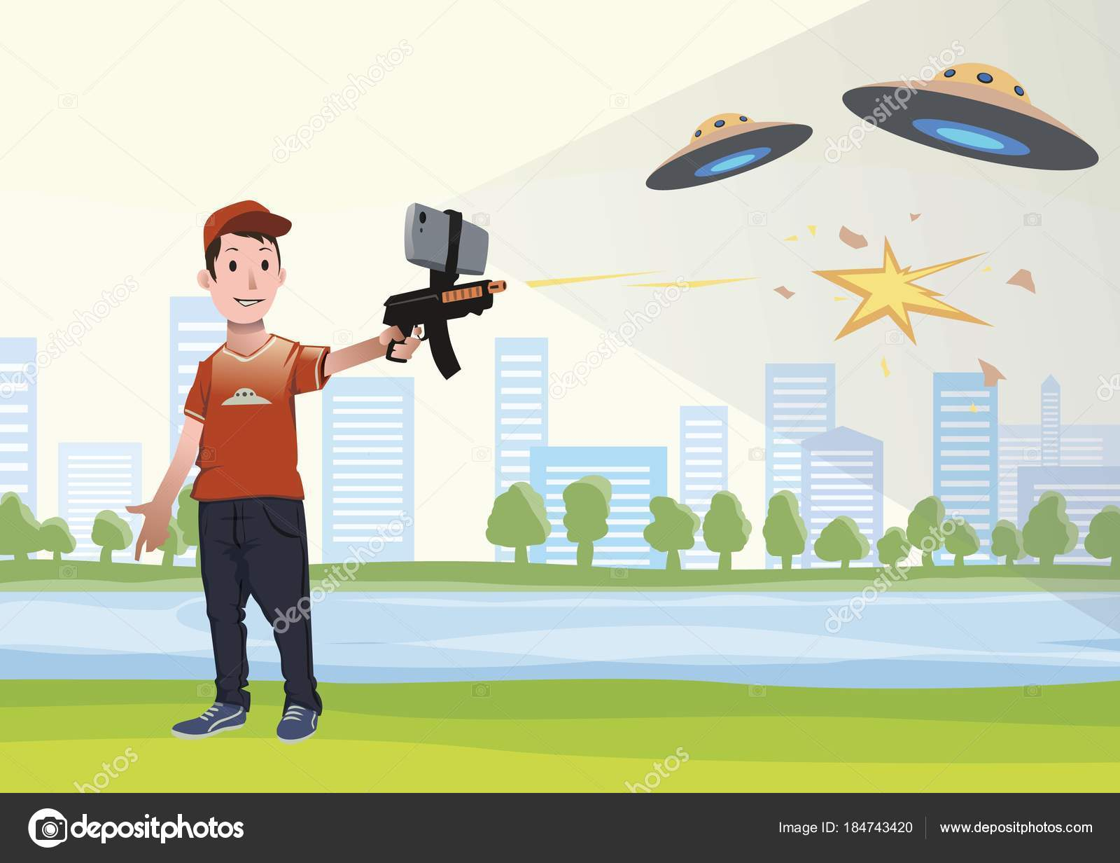Boy With AR Gun Playing A Shooter Game Weapon Mobile Phone Vector Illustration In Flat Style By Goodstockeryandexru