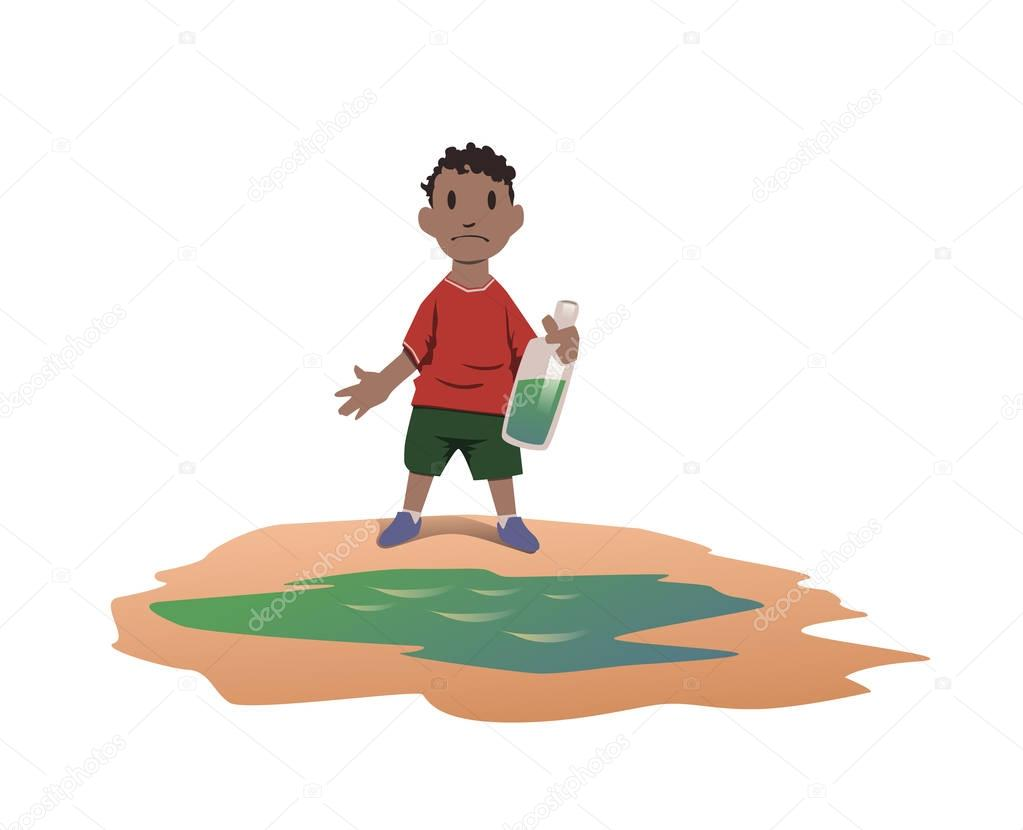 Water scarcity concept. African boy took drinking water from a dirty puddle. Bad drinking water is the cause of dangerous intestinal infections. Vector illustration isolated on white background.