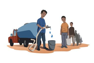 Water scarcity concept. African people stand in line for water. The water truck. Vector illustration isolated on white background.