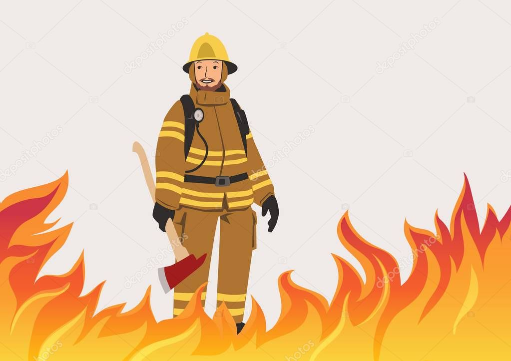 Firefighter with an ax standing in the midst of fire. Vector illustration with copy space.