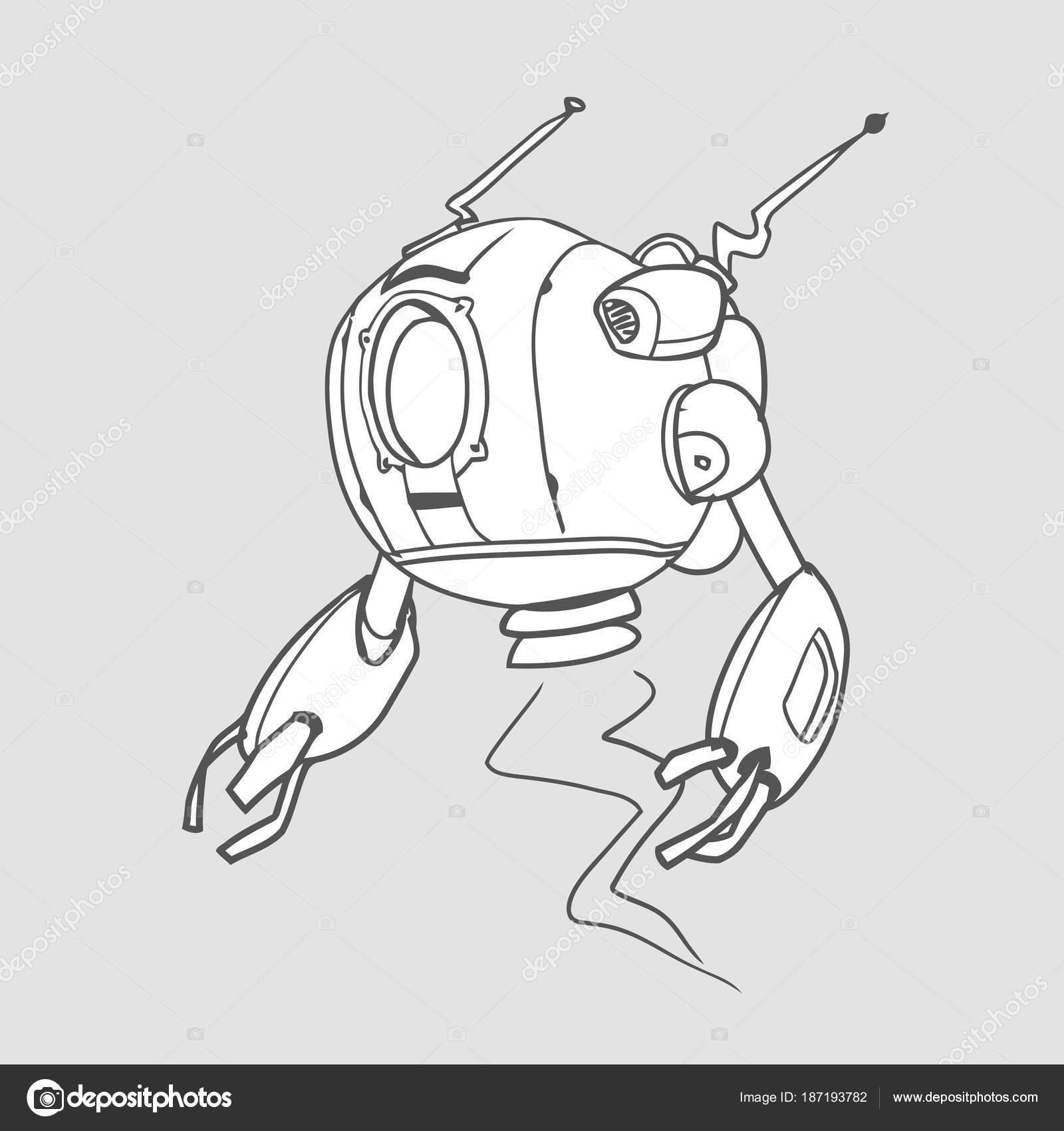Robot esférico volador, ilustración vectorial de contorno para ...