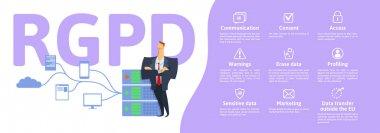 RGPD, Spanish and Italian version version of GDPR: Regolamento generale sulla protezione dei dati. Concept vector illustration. General Data Protection Regulation. Protection of personal data.
