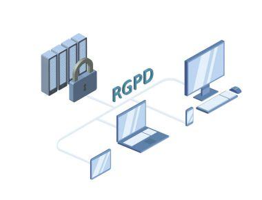 RGPD, Spanish and Italian version version of GDPR, Regolamento generale sulla protezione dei dati. Concept vector isometric illustration, isolated on white. General Data Protection Regulation.