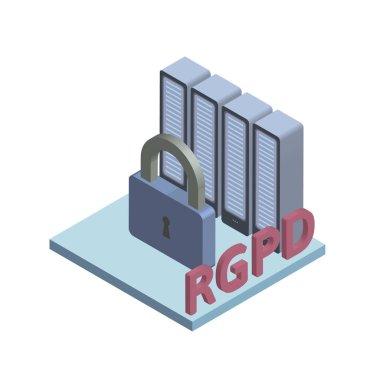 RGPD, Spanish and Italian version version of GDPR, Regolamento generale sulla protezione dei dati. Concept isometric illustration. General Data Protection Regulation. Vector logo, isolated on white.