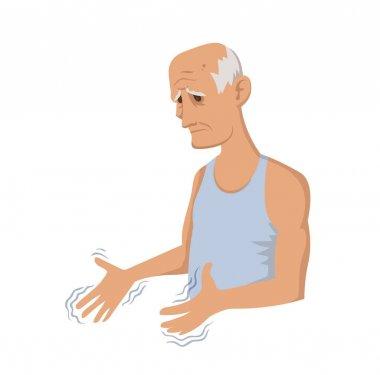 Tremor hands. Elderly man looking at the shaking hands. Symptom of Parkinsons disease. Medical vector illustration.