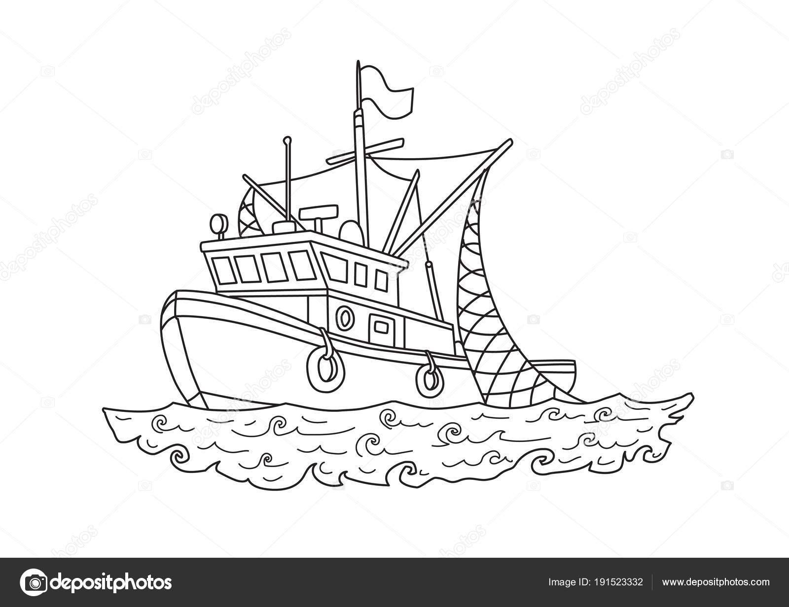 Barco de pesca en el mar. Ilustración vectorial de contorno para ...