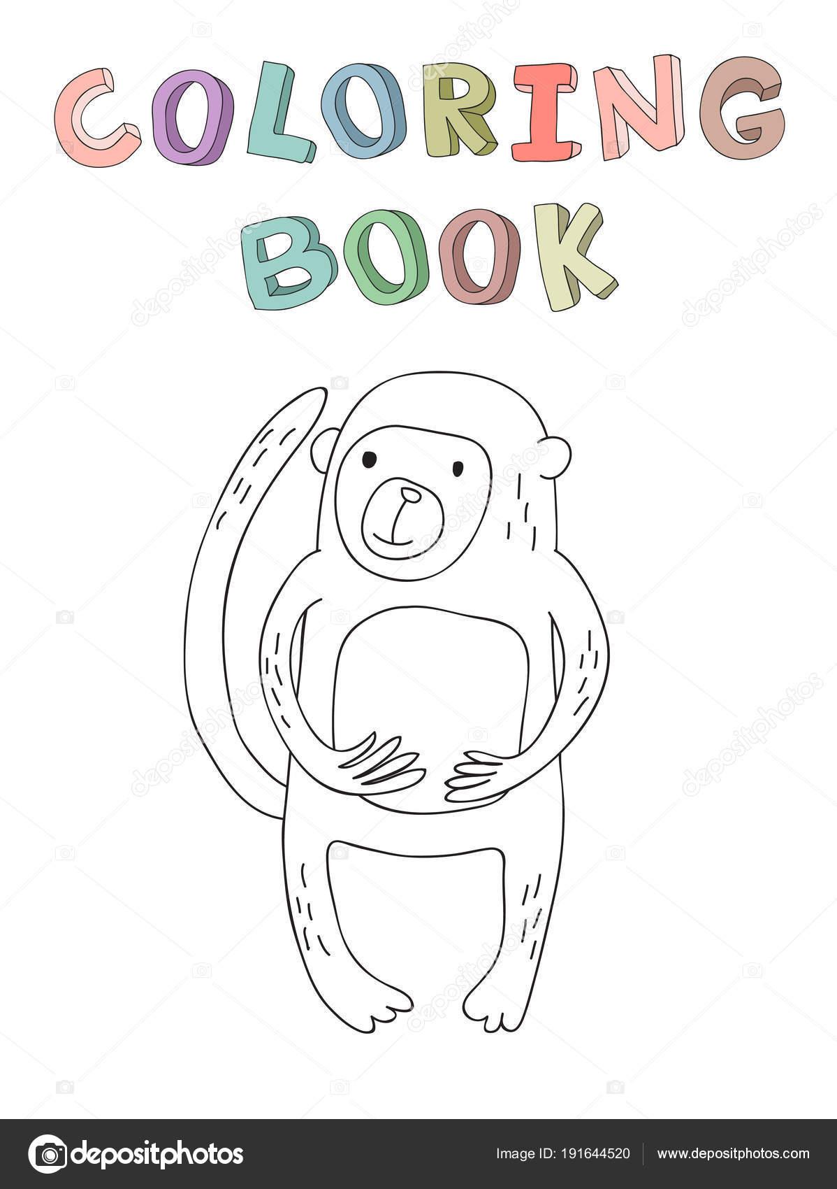 Personaje de mono de dibujos animados lindo, ilustración vectorial ...