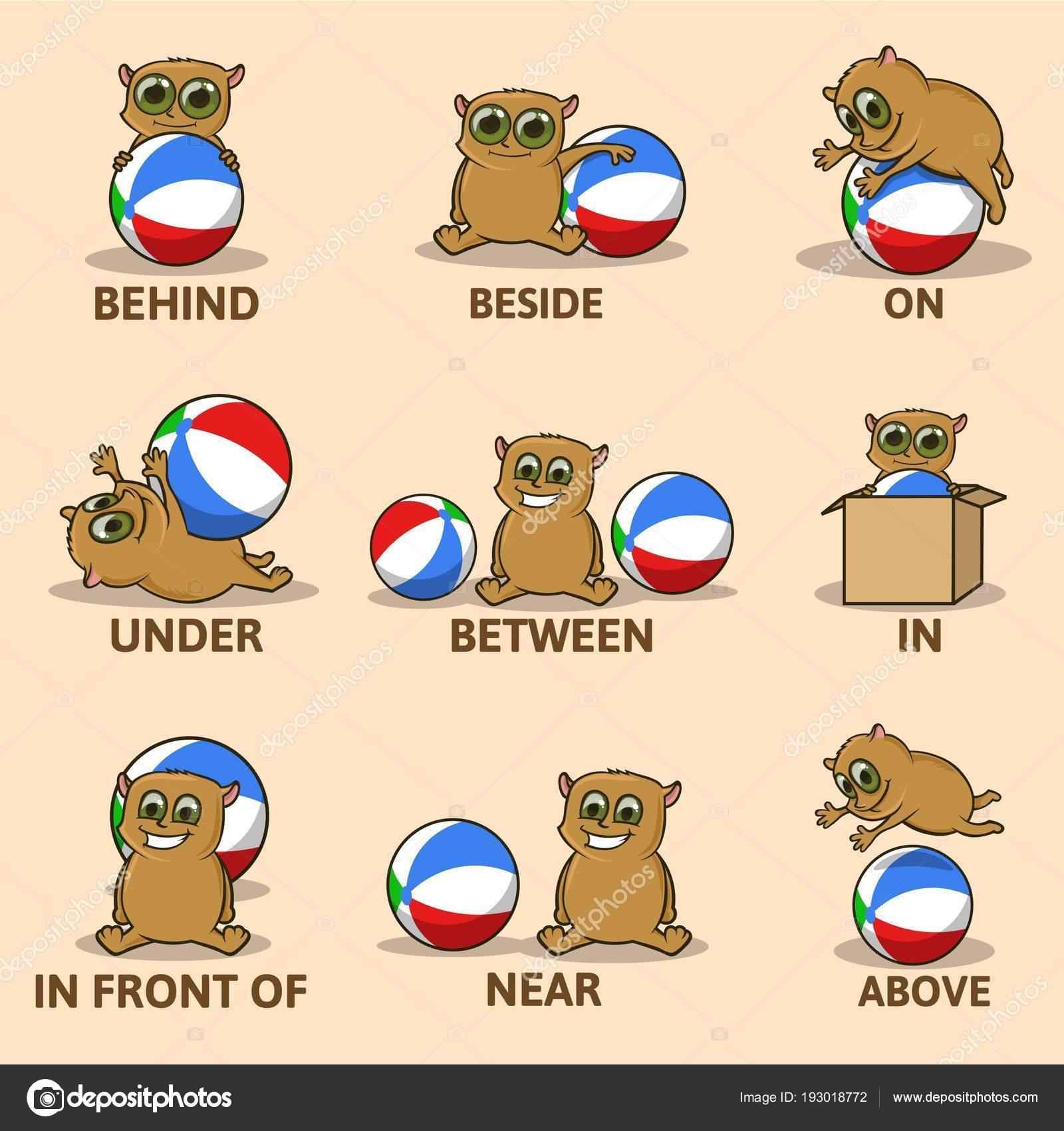 Tabelle der Präpositionen des Ortes mit lustigen Tier Charakter ...