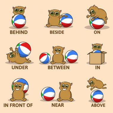 Table of prepositions of place with funny animal character. English for children. Educational visual material for kids. Colorful comic character playing wiyh ball. Vector infographics illustration.