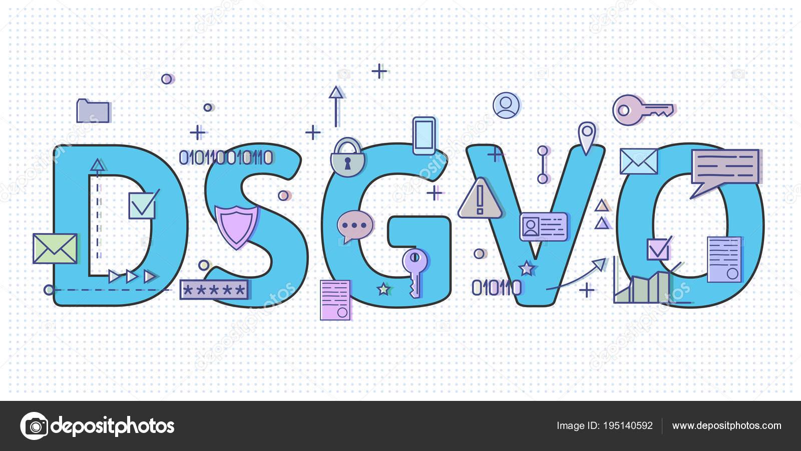8341b793b Digital e internet símbolos na frente Dsgvo letras. Regulamento de proteção  de dados gerais. PIBR, Rgpd, Dsgvo. Ilustração do vetor de conceito.