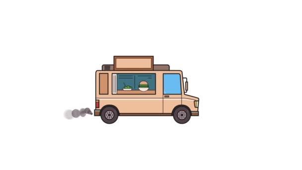 Animovaný food truck projížděli. Jedoucího vozidla na pozadí krajiny. Plochý animace