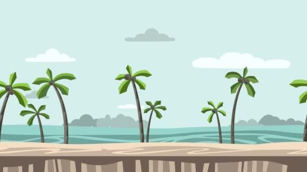 Sfondo animato. Spiaggia con palme e rocce orizzonte. Vista sul mare in movimento. Animazione piatto, parallasse. Filmati