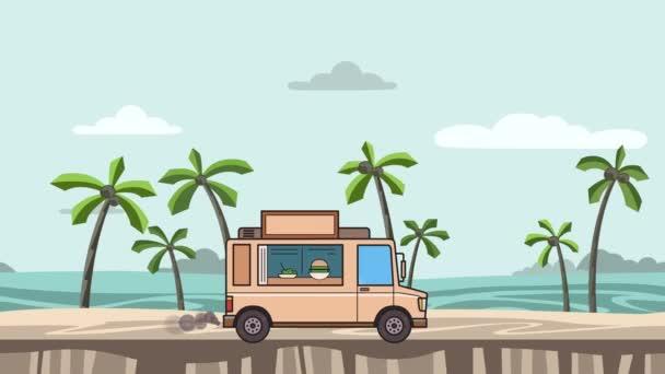 Animovaný kamionu potravin na koni na pláži. Vozidla dál krajina, boční pohled. Plochý animace