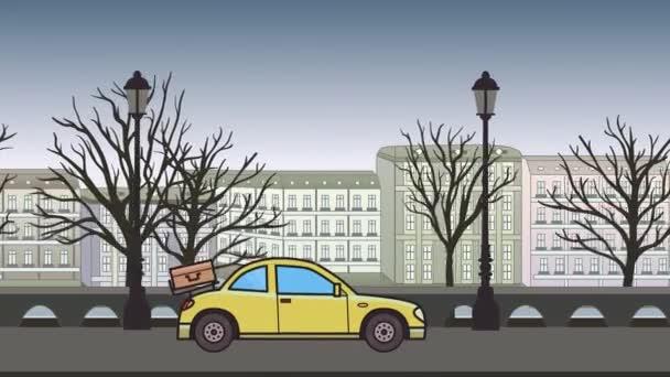 Animovaný kupé auto se zavazadly na zadní kapotu na koni přes podzimní město. Přesouvání hatchback v city parku pozadí. Plochý animace.