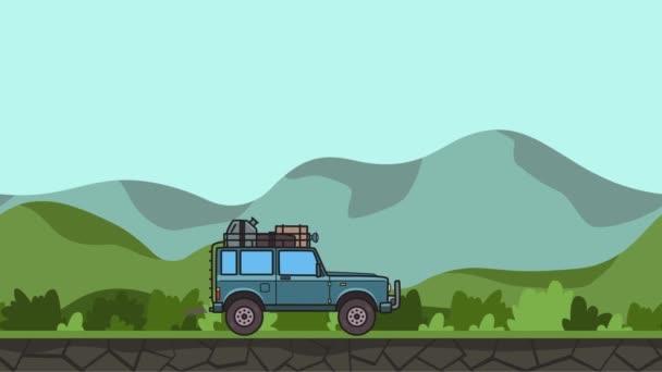 Animovaný Suv auto s zavazadla na střeše kmen projížděl zelené údolí. Terénní vozidlo dál kopcovitou krajinu pozadí. Plochý animace.