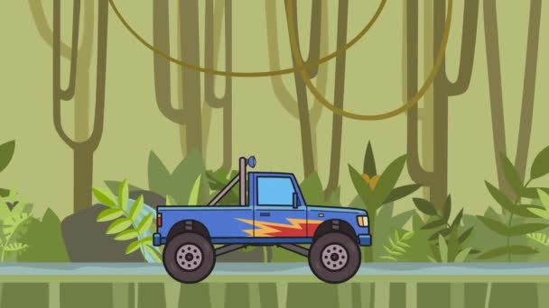 animierter Riesenrad-Monstertruck, der durch den Regenwald fährt. beweglicher Bigfoot Truck auf Dschungel und Flusshintergrund. Flache Animation.