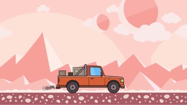 Animovaný pick-up s lóžemi v kufru projížděl růžové mimozemské pouště. Doručení auta dál horské pouště pozadí. Plochý animace