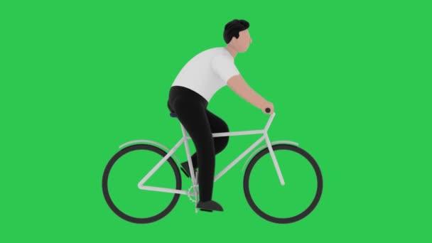 Cartoon muž jezdí na kole na zeleném pozadí. Bezproblémová pohybová grafická animace.