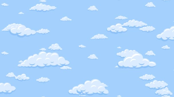 Cartoon clouds floating down vertically in the blue sky. Background seamless looping animation.