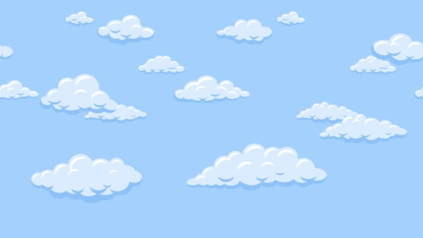 Cartoon clouds floating in the blue sky. Background seamless looping animation.