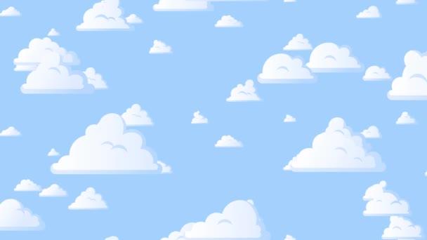Rajzfilmfelhők lebegnek a kék égen. Háttér zökkenőmentes hurkolás animáció.