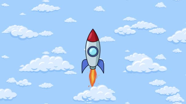 Cartoon rocket flying up with fluffy clouds around in the blue sky. Background seamless looping animation.