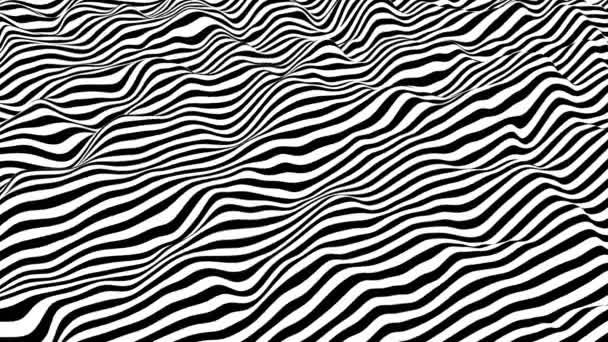 Fekete-fehér csíkok hullámzó felület. Modern izometrikus háttér hurok animáció. 3D renderelés.