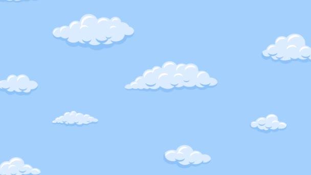 Rajzfilmfelhők lebegnek függőlegesen a kék égen. Háttér zökkenőmentes hurkolás animáció.